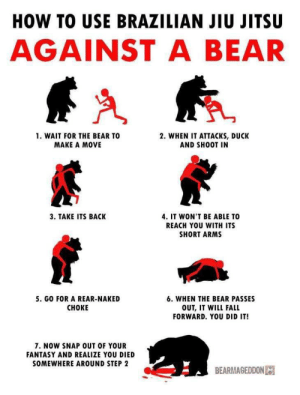 Make it memorable: HOW TO USE BRAZILIAN JIU JITSU  AGAINST A BEAR  1. WAIT FOR THE BEAR TO  2. WHEN IT ATTACKS, DUCK  AND SHOOT IN  MAKE A MOVE  3. TAKE ITS BACK  4. IT WON'T BE ABLE TO  REACH YOU WITH ITS  SHORT ARMS  5. GO FOR A REAR-NAKED  6. WHEN THE BEAR PASSES  CHOKE  OUT, IT WILL FALL  FORWARD. YOU DID IT!  7. NOW SNAP OUT OF YOUR  FANTASY AND REALIZE YOU DIED  SOMEWHERE AROUND STEP 2  BEARMAGEDDON Make it memorable