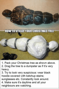 Christmas, Dank, and Christmas Tree: HOW TO UTILIZE VOUR CHRISTMAS TREE  1. Pack your Christmas tree as shown above.  2. Drag the tree to a dumpster as if it's very  heavy.  3. Try to look very suspicious: wear blaclk  hoodie covered with ketchup stains;  sunglasses etc. Constantly look around.  4. Make sure it's daytime and all your  neighbours are watching do not imitate. 🎄