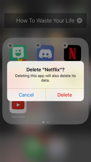 "Life, Netflix, and Tumblr: How To Waste Your Life  Delete ""Netflix""?  Deleting this app will also delete its  data  I12  Cancel  Delete  YouTube scifiseries:  When they add Futurama back to Netflix but it's only the last four seasons"