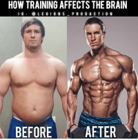 Clothes, Complex, and Facebook: HOW TRAINING AFFECTS THE BRAIN  I G  LEGION S  PRODUCTION  BEFORE  AFTER 🔥🤔HOW TRAINING AFFECTS THE BRAIN. Founder 👉: @king_khieu. As we may already know, regular exercise may bring a wide range of benefits to our health including improved blood flow, boosted immune system, stronger lung capacity, lower risk of health conditions and disease, etc. But one thing that many people don't know is that exercise can greatly boost and benefit the nervous system; brain. Here is a list of some of those advantages. 1 - Improves cognitive abilities which includes organizing, ling term thinking, focusing on complex tasks and activity. 2 - Helps reduce stress by lowering cortisol levels. 3 - Increase production of BDNF or brain derived neurotropic factor leading to stimulation of growth and regeneration of brain cells. 4 - Improves memory power through increased blood flow to the brain and function. 5 - Helps fight and alleviate anxiety and depression. So, based on what we see above. This may give you another incentive to workout. Thoughts? 🤔Opinions? What do you guys think? COMMENT BELOW! Athlete: @aaron_nimmo. TAG SOMEONE who needs to lift! _________________ Looking for unique gym clothes? Use our 10% discount code: LEGIONS10🔑 on Ape Athletics 🦍 fitness apparel! The link is in our 👆 bio! _________________ Principal 🔥 account: @fitness_legions. Facebook ✅ page: Legions Production. @legions_production🏆🏆🏆 . . . . . . . run running runner athlete athletes athletic sport sports calves quadzilla striations quads quad quadriceps hamstrings glutes backworkout back backday chest chestday chestworkout traps delts shoulder shoulders pecs shreds shred shredz 🔑LINK IN BIO!
