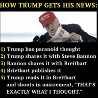 """paranoid: HOW TRUMP GETS HIS NEWS:  1) Trump has paranoid thought  2) Trump shares it with Steve Bannon  3) Bannon shares it with Breitbart  4) Brietbart publishes it  5) Trump reads it in Breitbart  and shouts in amazement, """"THAT'S  EXACTLY WHAT I THOUGHT."""""""