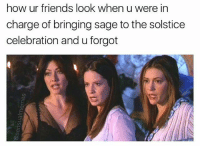 omg!!!!!!!! hate that!!! the just have to ruin the witchcraft ritual: how ur friends look when u were in  charge of bringing sage to the solstice  celebration and u forgot omg!!!!!!!! hate that!!! the just have to ruin the witchcraft ritual