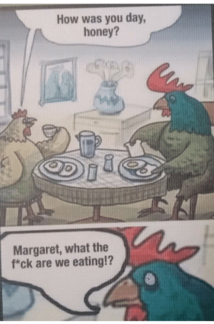 🐣🍳: How was you day,  honey?  Margaret, what the  f*ck are we eating!? 🐣🍳