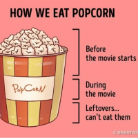 deep mysociety society: HOW WE EAT POPCORN  Before  the movie starts  During  RPOokN  the movie  Leftovers...  can't eat them  OBRIGHTSID deep mysociety society