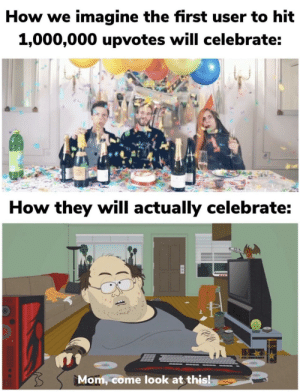 Expectation vs Reality: How we imagine the first user to hit  1,000,000 upvotes will celebrate:  How they will actually celebrate:  Mom, come look at this! Expectation vs Reality