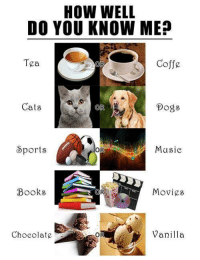 Books, Dogs, and Movies: HOW WELL  DO YOU KNOW ME?  Tea  Coffe  Gats  OR  Dogs  OR  Musie  Sports  Movies  Books  OR  Vanilla  Chocolate :