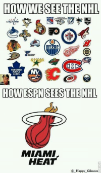 Happy Gilmore: HOW WESEE THE NHL  LA  TORONTO  MAPLE  LEAFS  HOTTESPENSERESS THE NHL  MIAMI  HEAT  Happy Gilmore