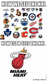 Serses: HOW WESEE THE NHL  LA  TORONTO  MAPLE  LEAFS  HOW ESPN SERS THE NHL  MIAMI  HEAT  Happy Gilmore