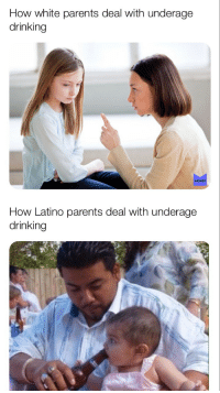 """""""No pasa nada"""": How white parents deal with underage  drinking  MEMES  How Latino parents deal with underage  drinking """"No pasa nada"""""""