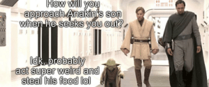 Strange little green bastard: How will you  approach Anakin's son  when he seeks you out?  Idk, probably  act super weird and  steal his food lol Strange little green bastard