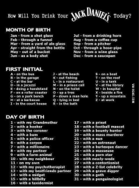 """As a body shot in a prison cell with a mass murderer"", boy that escalated quickly... http://9gag.com/gag/azLD3ZZ?ref=fbp: How Will You Drink Your  VN  MONTH OF BIRTH  Jan from a shot glass  Jul from a drinking horn  Feb through a funnel  Aug from a coffee cup  Mar from a yard of ale glass  Sep from a pitcher  Apr straight from the bottle  oct through a hose-pipe  May out of a bucket  Nov from a wine glass  Jun as a body shot  Dec from a saucepan  FIRST INITIAL  A on the bus  J at the beach  S on a boat  B in the garage  K out fishing  T on the roof  C at the bar  L in a restaurant  U in a tank  D in a jacuzzi  V at the library  n a prison ce  E doing a handstand N on the toilet  n hospita  F on a roller coaster  O-up a tree  X beside a fire  G on a park bench P down a man hole  Y up a mountain  Q lying in bed  H at a barbecue  Z at work  I in the court house  R in the bath  DAY OF BIRTH  1 with my Grandmother  17 with a priest  18 with a football mascot  2 with a hooker  3 with the coroner  19 with a bounty hunter  4 with a bum  20 with a mass murderer  5 with a police officer  21 with a nun  6 with a corpse  22 with an astronaut  7 with a millionaire  23 with a burlesque dancer  8 with my partner  24 with a masseuse  25 with a porn star  9 with a farm animal  10 with my neighbour  26 with newly-weds  27 with a contortionist  11 on my own  12 with my psychotherapist  28 with a Z-list celebrity  13 with my bestfriends partner 29  with a grave digger  14 with a midget  30 with a goth  15 with a hillbilly  31 with a penguinologist  16 with a taxidermist ""As a body shot in a prison cell with a mass murderer"", boy that escalated quickly... http://9gag.com/gag/azLD3ZZ?ref=fbp"