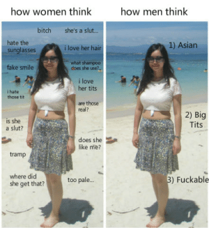 Asian, Bitch, and Love: how women thinlk  how men think  bitch she's a slut...  ilove her hair  what shampoo  hate the  sunglasses  1) Asian  ake smile  does she use?  i love  her tits  i hate  those tit  are those  real?  is she  a slut?  2) Big  Tits  does she  like me?  tramp  where did  she get that?  too pale...  )Fuckable Is this what your first impressions are?
