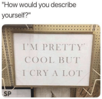 "Cry A Lot: ""How would you describe  yourself?""  I'M PRETTY  COOL BUT  I CRY A LOT  0  SP"