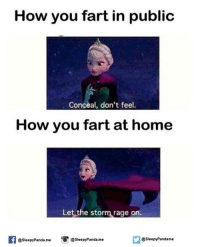 Memes, Panda, and Home: How you fart in public  Conceal, don't feel.  How you fart at home  Let the storm rage on.  If @Sleepy Panda me  @sleepy Panda me  Sleepy Pandame