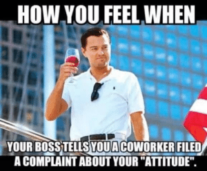 """Memes, Attitude, and How: HOW YOU FEEL WHEN  YOUR BOSSTELLSYOUACOWORKER FILED  A COMPLAINT ABOUT YOUR """"ATTITUDE"""". Top 30 Coworker Memes to Share with Your Colleagues – SheIdeas"""