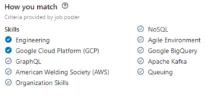 Better start dusting off my American Welding Society skills: How you m atch  riteria provided by job poster  Skills  Engineering  Google Cloud Platform (GCP)  GraphQL  American Welding Society (AWS)  Organization Skills  O NoSQL  Agile Environment  O Google BigQuery  Apache Kafka  Queuing Better start dusting off my American Welding Society skills