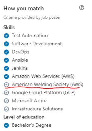 Technical Staff: We are looking for a Cloud DevOps Engineer with AWS experience. Recruiter: Say no more.: How you match  Criteria provided by job poster  Skills  Test Automation  Software Development  DevOps  O Ansible  Jenkins  Amazon Web Services (AWS)  American Welding Society (AWS)  Google Cloud Platform (GCP)  Microsoft Azure  Infrastructure Solutions  Level of education  Bachelor's Degree Technical Staff: We are looking for a Cloud DevOps Engineer with AWS experience. Recruiter: Say no more.