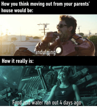 A little bit of both really⠀ avengers endgame tonystark ironman 9gag: How you think moving out from your parents'  house would be:  indulging  How it really is:  Food and water ran out 4 days ago A little bit of both really⠀ avengers endgame tonystark ironman 9gag
