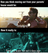Food, Funny, and Parents: How you think moving out from your parents'  house would be:  indulging  How it really is:  Food and water ran out 4 days ago so true via /r/funny https://ift.tt/2GhGQnQ