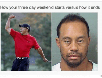 😂: How your three day weekend starts versus how it ends 😂