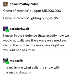 realism: howellmalfoylester  Game of thrones' budget: $15,000,000  Game of thrones' lighting budget: $5  zerodarkwolf  i mean in their defense thats exactly how we  would actually see if we were on a medieval  war in the middle of a moonless night we  wouldnt see ass lmao  moosefix  the realism is what sells the show with  the magic dragons realism