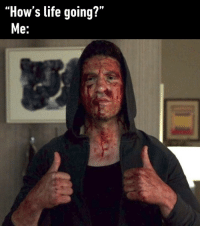 "9gag, Life, and Memes: ""How's life going?""  e: Yea, as you can see, all good⠀ howslife punisher frankcastle 9gag"