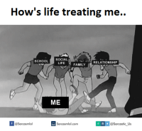 Memes About Life: How's life treating me..  SOCIAL  SCHOOL  RELATIONSHIP  LIFE  FAMILY  ME  ol com @Sarcastic Us  f @Sarcasmlol