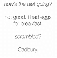Easter, Best, and Breakfast: how's the diet going?  not good. i had egg:s  for breakfast.  scrambled?  Cadbury The best part of Easter 🐣 (Rp from @womenruletheuniverse 👈🏻❤) FOLLOW @WOMENRULETHEUNIVERSE 👣