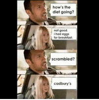 Memes, Work, and Breakfast: how's the  diet going?  not good  i had eggs  for breakfast.  scrambled?  a 4 Cadbury's Monday morning motovation @fitcops fitnesslife fit fitlife fitness work workout monday mondaysucks cheatday cheat eggs egg cadbury therock rock staymotivated