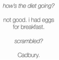 Easter, Breakfast, and Good: how's the diet going?  not good. i had eggs  for breakfast.  scrambled?  Cadbury Happy Easter y'all 💛💜💖