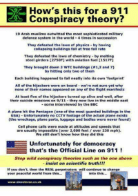Official line on 9-11: How's this for a 911  Conspiracy theory?  19 Arab muslims outwitted the most sophisticated military  defence system in the world 4 times in succession  They defeated the laws of physics by having  collapsing buildings fall at free fall rate  They defeated the laws of chemistry by melting  steel girders [2750FJ with aviation fuel [1517F]  They brought down 3 wTC buildings 1,2 and 7)  by hitting only two of them  Each building happened to fall neatly into its own footprint  All of the hijackers were on board we're not sure yet why  none of their names appeared on any of the flight manifests  At least five of the hijackers turned up alive and well, after  their suicide missions on 9/11 they now live in the middle east  some interviewed by the BBC  A plane hit the Pentagon  one of the most guarded buildings in the  USA) Unfortunately no CCTV footage of the actual plane exists  (the wreckage, plane parts, luggage and bodies were never found)  Cell phone calls were made at altitudes and speeds that  are usually impossible (over 2,000 feet over 230 mph).  We still don't know how they did this  E Unfortunately for democracy  that's the official Line on 911  Stop wild conspiracy theories such as the one above  insist on scientific truth!!!  If you don't, then the REAL perpetrators will continue to change  your peaceful world from this...  into this...  www.nine eleven.co.uk Official line on 9-11