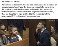Anyone know if this is true? If so, what a plot twist...: How's this for a twist?  Aaron Hernandez committed suicide because under the state of  Massachusetts law, if you die during a appeal of a conviction,  the original conviction becomes null & void. This means he  technically never violated the New England Patriots contract,  thus his daughter is now entitled to the remainder of the  guaranteed $15 million the Patriots owe him  @nflmemes ig Anyone know if this is true? If so, what a plot twist...