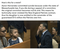 <p>Now everyone on Facebook is suddenly a legal scholar. This is the biggest load of nonsense I&rsquo;ve ever read.</p>: How's this for a twist?  Aaron Hernandez committed suicide because under the state of  Massachusetts law, if you die during a appeal of a conviction,  the original conviction becomes null & void. This means he  technically never violated the New England Patriots contract,  thus his daughter is now entitled to the remainder of the  guaranteed $15 million the Patriots owe him  @NFL_MEMES <p>Now everyone on Facebook is suddenly a legal scholar. This is the biggest load of nonsense I&rsquo;ve ever read.</p>