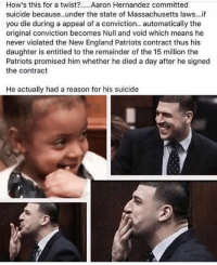 Wow😦 Do you think this is true?? Comment below ⬇️: How's this for a twist?... Aaron Hernandez committed  suicide because..under the state of Massachusetts laws..if  you die during a appeal of a conviction.. automatically the  original conviction becomes Null and void which means he  never violated the New England Patriots contract thus his  daughter is entitled to the remainder of the 15 million the  Patriots promised him whether he died a day after he signed  the contract  committed  suicide because. under the  He actually had a reason for his suicide Wow😦 Do you think this is true?? Comment below ⬇️