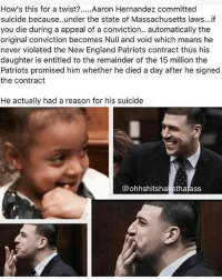 Thoughts?????🤔🤔🤔🤔🤔🤔 AaronHernandez newenglandpatriots pats hernandez patriots patriotsnation nfl newengland conspiracy plottwist wayment: How's this for a twist?..Aaron Hernandez committed  suicide because..under the state of Massachusetts laws...if  you die during a appeal of a conviction.. automatically the  original conviction becomes Null and void which means he  never violated the New England Patriots contract thus his  daughter is entitled to the remainder of the 15 million the  Patriots promised him whether he died a day after he signed  the contract  He actually had a reason for his suicide  @ohhshitshakethatass Thoughts?????🤔🤔🤔🤔🤔🤔 AaronHernandez newenglandpatriots pats hernandez patriots patriotsnation nfl newengland conspiracy plottwist wayment