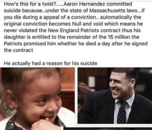 3rdfelony:  I'd done the same shit og besides the fact mans killed he did a smart thing for his daughter  🤔: How's this for a twist?...Aaron Hernandez committed  suicide because..under the state of Massachusetts laws...if  you die during a appeal of a conviction.. automatically the  original conviction becomes Null and void which means he  never violated the New England Patriots contract thus his  daughter is entitled to the remainder of the 15 million the  Patriots promised him whether he died a day after he signed  the contract  He actually had a reason for his suicide 3rdfelony:  I'd done the same shit og besides the fact mans killed he did a smart thing for his daughter  🤔