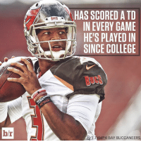 Jameis Winston is Mr. Touchdown: hr  BUCS  HAS SCORED ATD  IN EVERY GAME  HE'S PLAYED IN  SINCE COLLEGE  TAMPA BAY BUCCANEERS Jameis Winston is Mr. Touchdown