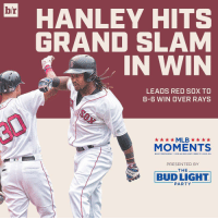HanRam, Grand Slam (@budlight): hr  HANLEY HITS  GRAND SLAM  IN WIN  LEADS RED SOX TO  8-6 WIN OVER RAYS  MLB  MOMENTS  20  Louis, M  PRESENTED BY  THE  T L LIGHT  PARTY HanRam, Grand Slam (@budlight)