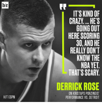 """Derrick Rose, Detroit, and Espn: hr  HIT ESPN  IT'S KIND OF  CRAZY... HE'S  GOING OUT  HERE SCORING  30, AND HE  KNOW THE  NBAYET  THAT'S SCARY  DERRICK ROSE  ON KRISTAPS PORZINGIS'  PERFORMANCE VS. DETROIT Repost @bleacherreport: """" Porzingod is just scratching the surface...😳"""" Knicks 🏀 Porzingis WSHH"""