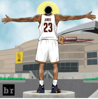 Sports, Browns, and Lebron: hr  JAMES  Quicken  Loans Arena Jim Brown thinks LeBron deserves his own statue...What if? 👀