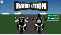 Just Clinch, Baby! The @Raiders are rolling into the playoffs for the first time since 2002!: hr  RAIDER NATION  Next Stop:  Playoffs  CARR  MACK  52 Just Clinch, Baby! The @Raiders are rolling into the playoffs for the first time since 2002!