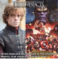 Memes, Guardian, and Guardians of the Galaxy: HRDINESEACTIS  http://instagram.com/thronesfacts/  PETER DINKLAGE WILLAPPEAR IN THE UPCOMING  MARVEL FILM AVENGERS INFINITY WARRz Cr: @gotinsider This movie is gonna be epic!! All our favorite super heroes will be in it (The Avengers, the Guardians of the Galaxy, Doctor Strange and more!)