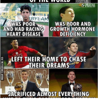 Memes, Chase, and Heart: HRENA  BYL  WAS POOR  AND HAD RACING  HEART DISEASE  WAS POOR AND  GROWTH HORMONE  DEFICIENCY  ELEFT THEIR HOME TO CHASE  THEIR DREAMScef  SACRIFICED ALMOST EVERYTHING Never give up on your dreams! 🙌👏👊⚽️ @footyemporium