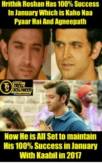 #HrithikRoshan :* #Kaabil :*  #Dhondu: Hrithik Roshan Has 100% Success  In January Which is Kaho Naa  Pyaar HaiAnd Agneepath  OFFICIAL  TROLL  BOLL WOOD  Now He is All Setto maintain  His 100% Success in January  With Kaabilin 2017 #HrithikRoshan :* #Kaabil :*  #Dhondu