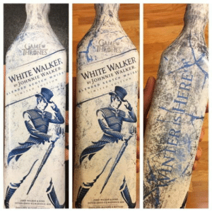 Drinking, White, and Freezing: HRONES  WHITE WALKER  BY JOHNNIE WALKER  WHITE WALKER  BYJOHNNIE WALKER Promotional White Walker by Johnnie Walker, before and after freezing the bottle — makes me want to take up drinking