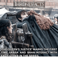👈🏼 Swipe for random facts from last episode Sadly, the fourth episode got leaked. Please do not message me for links because I will not provide them.: HRONESFACTS  ram.com/thronesfacts/  THE QUEEN'S JUSTICE' MARKS THE FIRST  TIME SANSA AND BRAN INTERACT WITH  EACH OTHER IN THE SERIES 👈🏼 Swipe for random facts from last episode Sadly, the fourth episode got leaked. Please do not message me for links because I will not provide them.