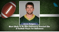 """Aaron Rodgers, Ellen DeGeneres, and Football: HT  JIMM  FALLON  Aaron Rodgers  Most Likely To Be Ellen DeGeneres Dressed Like  A Football Player For Halloween <p>The Minnesota Vikings play the Greenbay Packers tomorrow night. <a href=""""http://www.youtube.com/watch?v=ynUXcfHXZUg"""" target=""""_blank"""">We&rsquo;d like to recognize some of the players for their off-the-field qualities.</a></p>"""