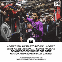 D-Rose reflects on the initial results of this year's All-Star voting.: HT JON KRAWCZYNSKI  B R  I DON'T SELL MYSELF TO PEOPLE... I DON'T  HAVE AN INSTAGRAM... IT COMES FROMME  BEING IN PEOPLE'S MINDS FOR SOME  REASON AND PEOPLE REALLY CARING.  DERRICK ROSE ON GETTING THE  THIRD-MOST ALL-STAR VOTES IN THE WEST D-Rose reflects on the initial results of this year's All-Star voting.