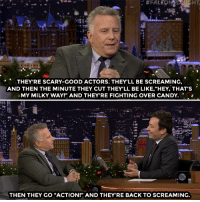 """<p><a href=""""https://www.youtube.com/watch?v=EpdMaaQwYho"""" target=""""_blank"""">Paul Reiser gives Jimmy an inside scoop of what happens on the Stranger Things set!</a></p>: HT  THEYRE SCARY-GOOD ACTORS. THEY'LL BE SCREAMING,  AND THEN THE MINUTE THEY CUT THEY'LL BE LIKE,""""HEY, THAT'S  : MY MILKY WAY!"""" AND THEY'RE FIGHTING OVER CANDY.  THEN THEY GO """"ACTION!"""" AND THEY'RE BACK TO SCREAMING. <p><a href=""""https://www.youtube.com/watch?v=EpdMaaQwYho"""" target=""""_blank"""">Paul Reiser gives Jimmy an inside scoop of what happens on the Stranger Things set!</a></p>"""