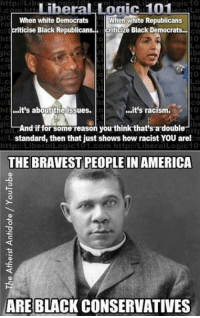 True! ~ Ginger  Rowdy Conservatives: http:l/Lib  ogic10  LiberaL Logic 101  When white Democrats  criticise Black Republicans.  When white Republicans  Icriticize Black Democrats...  ra  CO  0  ht  ra  co  0  0  ht  ra  ht  .it's about the issues  ..it's racism.  And if for some reason you think that's a double  rall  standard, then that just shows how racist YOU are!  http:/LiberalLogic101.com http:l/LiberalLogic10  THE BRAVEST PEOPLE IN AMERICA  ARE BLACK CONSERVATIVES True! ~ Ginger  Rowdy Conservatives